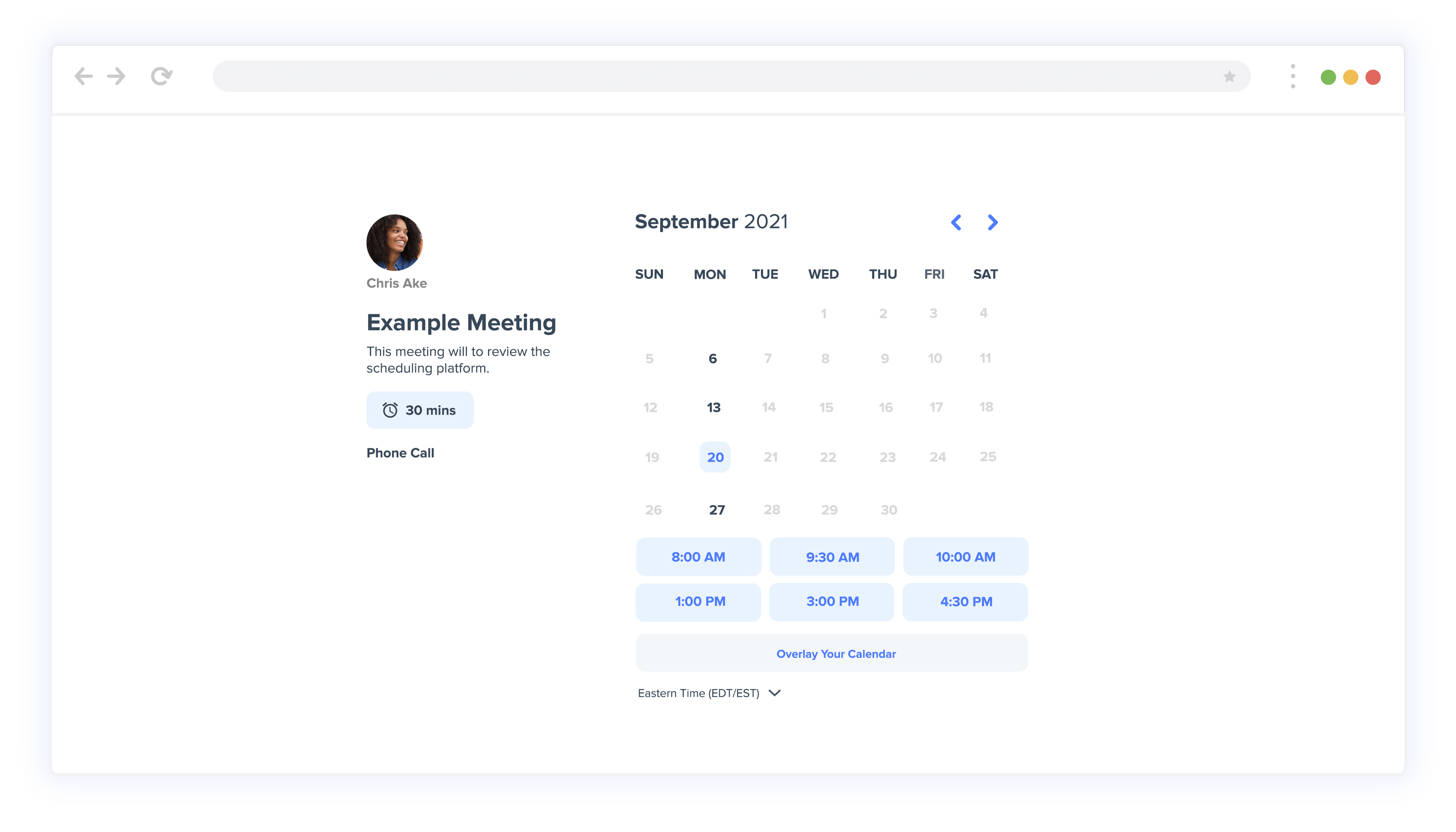 Scheduling Page Calendar View