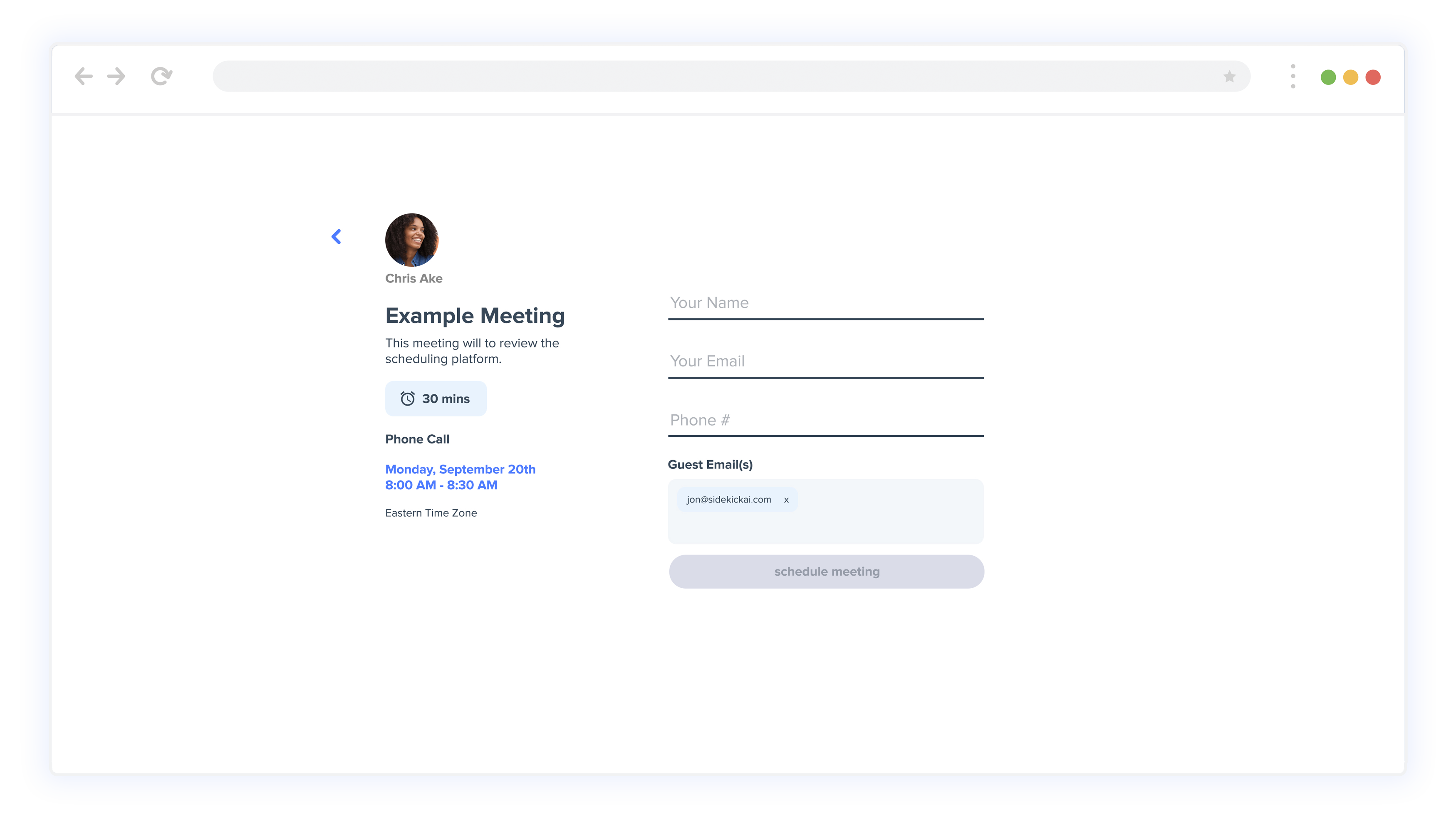 Sidekick Ai Scheduling Page Confirmation